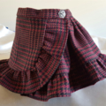 Adjustable wrap ruffle skirt - burgundy, black and tan wool tartan.