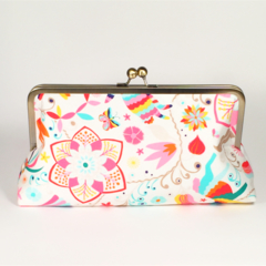 Circus on white large clutch purse