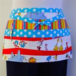 Teacher daycare preschool vendor craft half apron with 6 pockets - Dr Seuss