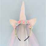 Unicorn Headband: Light Pink And Light Blue Rose With Tulle