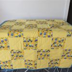 Handmade Cot Quilt 100% Cotton.  97 x 113 cm.  Reversible Minions / Zoo
