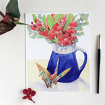 On folded wings - print of still-life with orchids and origami crane
