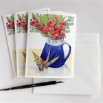On folded wings - Set of 3 greeting cards with envelopes - blank inside