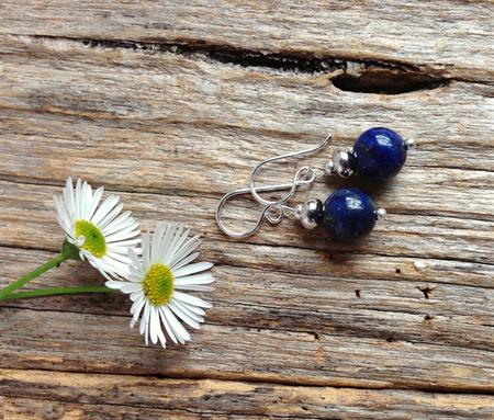 Lapis Lazuli Gemstone Bead Earrings, Gift, Mother's Day, Birthday, Wedding