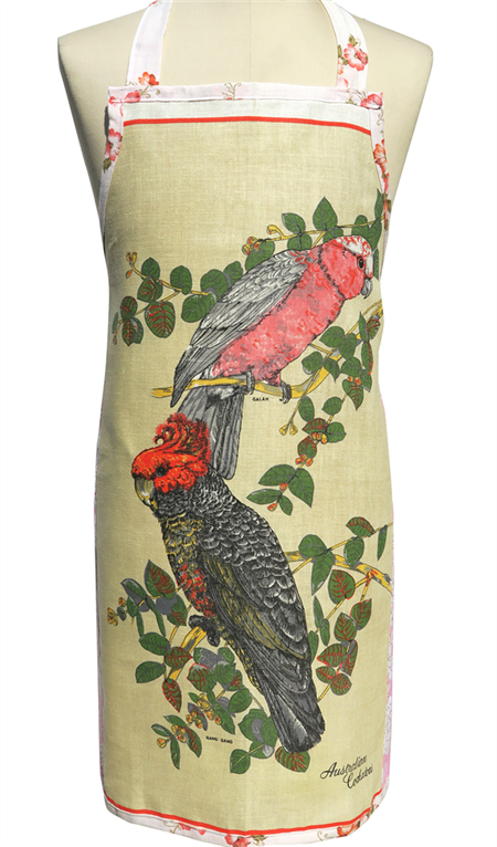 Metro Retro Australian Cockatoo Birds Vintage Apron. Birthday Christmas Gift