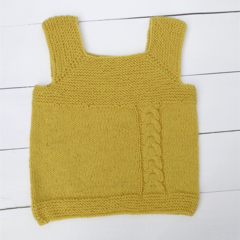 Hand Knitted Milo Vest, made with Yellow/Gold coloured pure wool, For 3-4 years