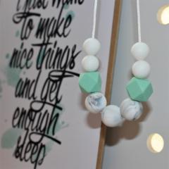 Silicone Bead Nursing Necklace Stylish Mum Jewellery BPA FREE Mint Marble