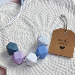 Silicone Nursing Necklace Mum Jewellery BPA FREE Serenity Blue, Lavender