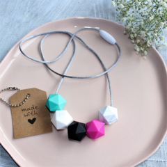 Silicone Bead Nursing Necklace Stylish Mum Jewellery Hot Pink, Turquoise