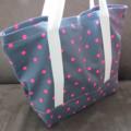 FREE SHIPPING ALWAYS Pink and grey polka dot Tote, market bag, knitting bag.