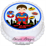 Superman Personalised Round Edible Icing Cake Topper - PRE-CUT