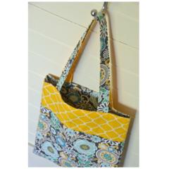 Mini Tote Bag - Yellow Geometric Pattern & Retro Flowers - Totally Reversible