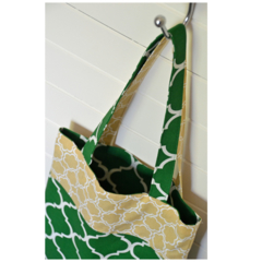 Mini Tote Bag - Green & Neutral Geometric Patterns - Totally Reversible