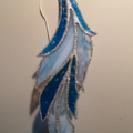 Blue and White Stained Glass Feather