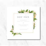 Personalised Peach & Green Save the Date Invitations
