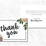 Personalised, Double Sided Wedding or Engagement Floral Thank You Card