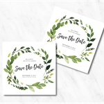 Personalised Leafy Watercolour Save the Date Invitations