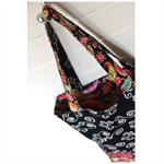 Mini Tote Bag - Black Paisley - Totally Reversible