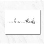 Personalised, Double Sided Black & White Thank You Card with Love Hearts