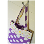Mini Tote Bag - Purple Dots, Pink Flowers & Rocking Horse - Totally Reversible