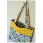 Mini Tote Bag - Yellow Geometric Pattern & Retro Flowers - Totally Reversible