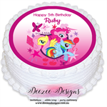 My Little Pony Personalised Round Edible Icing Cake Topper - PRE-CUT