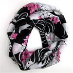 Black and White Infinity Scarf - Hand Made in Australia - Floral Loop Scarf