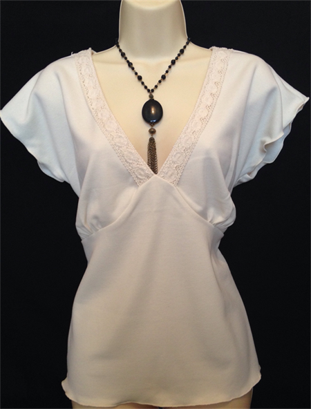 ladies lovely cream top with lace size 14