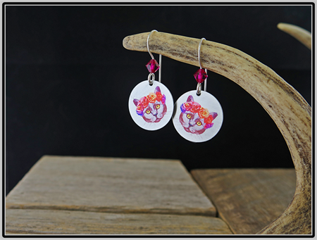 BOHO CAT, SWAROVSKI CRYSTAL, STERLING SILVER & GRAPHIC PRINT EARRINGS
