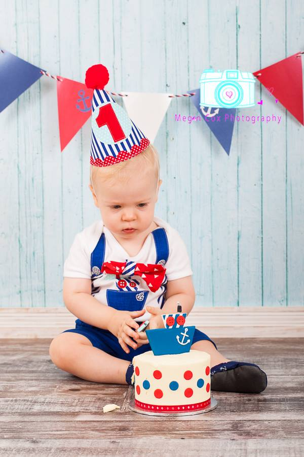 Baby Boys Nautical Theme 1st Birthday Onesie And Party Hat