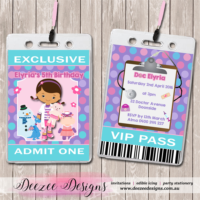 Doc McStuffins Personalised VIP Lanyard Birthday Invitations X 10