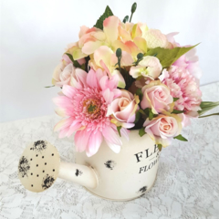 Watering Can with Pink Silk Flowers - Wedding Centrepiece, Flowers for Mum