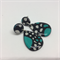 Aqua, Black & White Stud Earrings - FREE POSTAGE