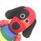 'Dexter' the Sock Dog -  rainbow stripe - *READY TO POST*
