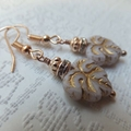 Pink Decorative Czech Leaf with Gold Accent, Rose Gold Diamonte Rondelle with Ro