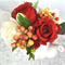 Silk Flowers in Teapot, Red & White Roses.  Table Flowers, Wedding Centrepiece