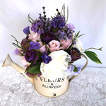 Watering Can with Silk Flowers - Watering Can with Roses, Peonies, Lavender