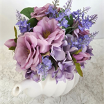 Silk Flowers in Teapot, Mauve Flowers - Table Flowers, Wedding Centrepiece