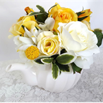 Table Centrepiece - Silk Flowers in Teapot, Yellow Roses in Tea Pot