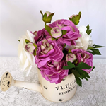 Table Arrangement - Mauve Silk Flowers in Watering Can - Table Flowers