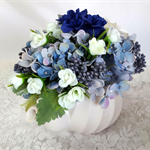 Silk Flowers in Teapot, Blue Flowers in Tea Pot - Table Centrepiece