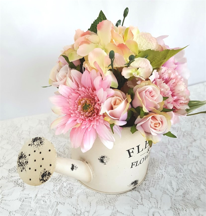 Watering Can With Pink Silk Flowers Wedding Centrepiece Flowers