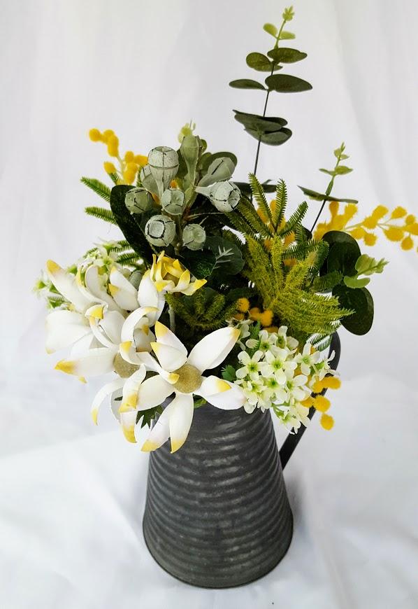 Australian Native Flower Arrangement In Vintage Tin Jug