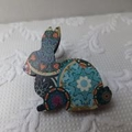 Aqua Mandala Print Wooden Rabbit Brooch