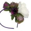 Spring Racing Floral Headband, Fascinator -Purple Roses, White Peony & Berries