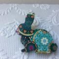 Aqua Mandala Print Wooden Rabbit Brooch
