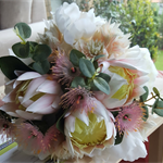 Australian Native Bridal Bouquet with Ivory Peonies & Pink Native Flowers
