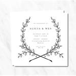 Black & White Wreath Engagement Invitation