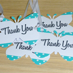 Girls Butterfly Thank You tags - Green & White