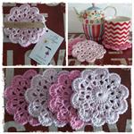 Crochet Coasters. Set of 4 (Dark Pink/Light Pink)